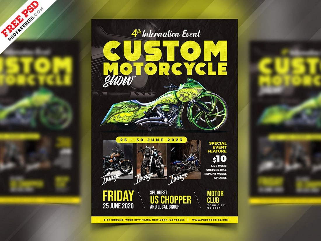 Free Motorcycle Show Event Flyer PSD