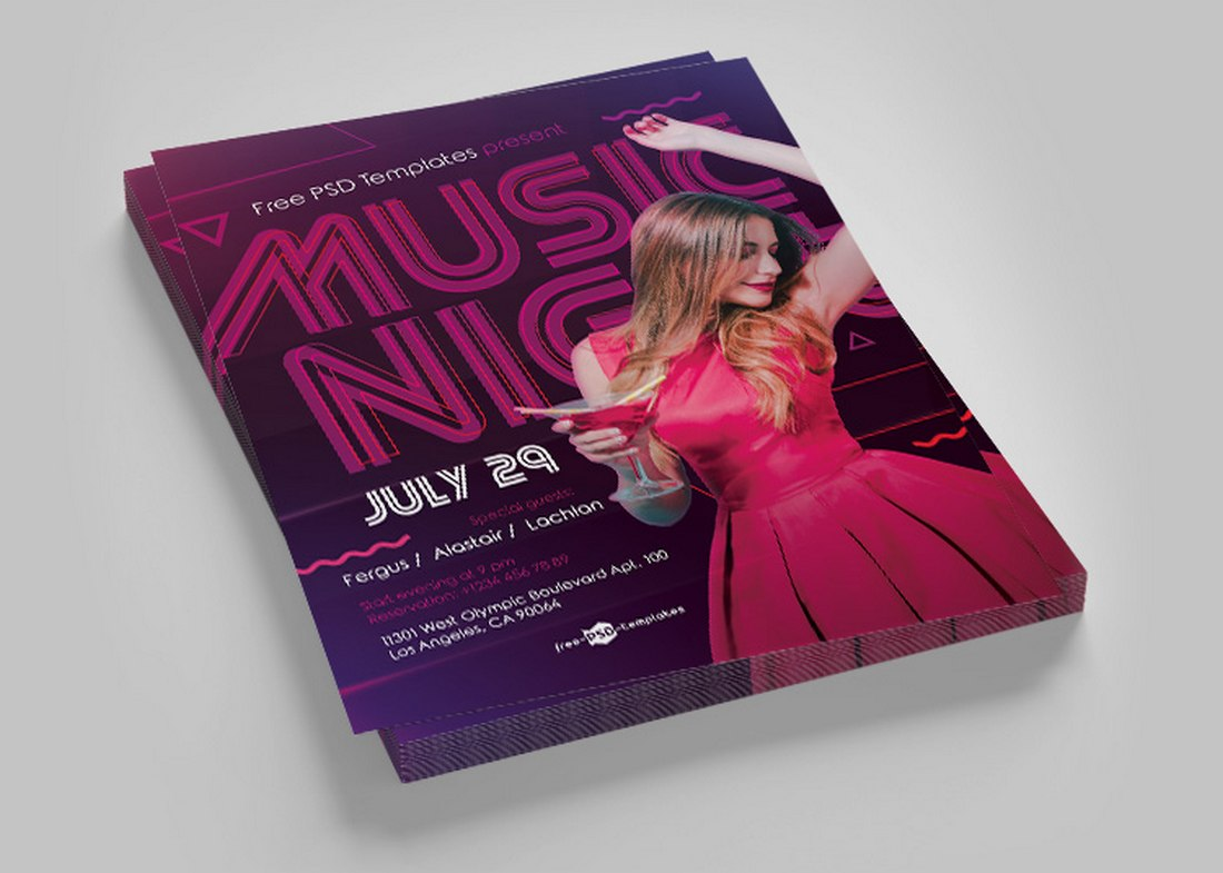 Free-Music-Night-Club-Flyer-Template 20+ Best Club Flyer Templates design tips  Inspiration