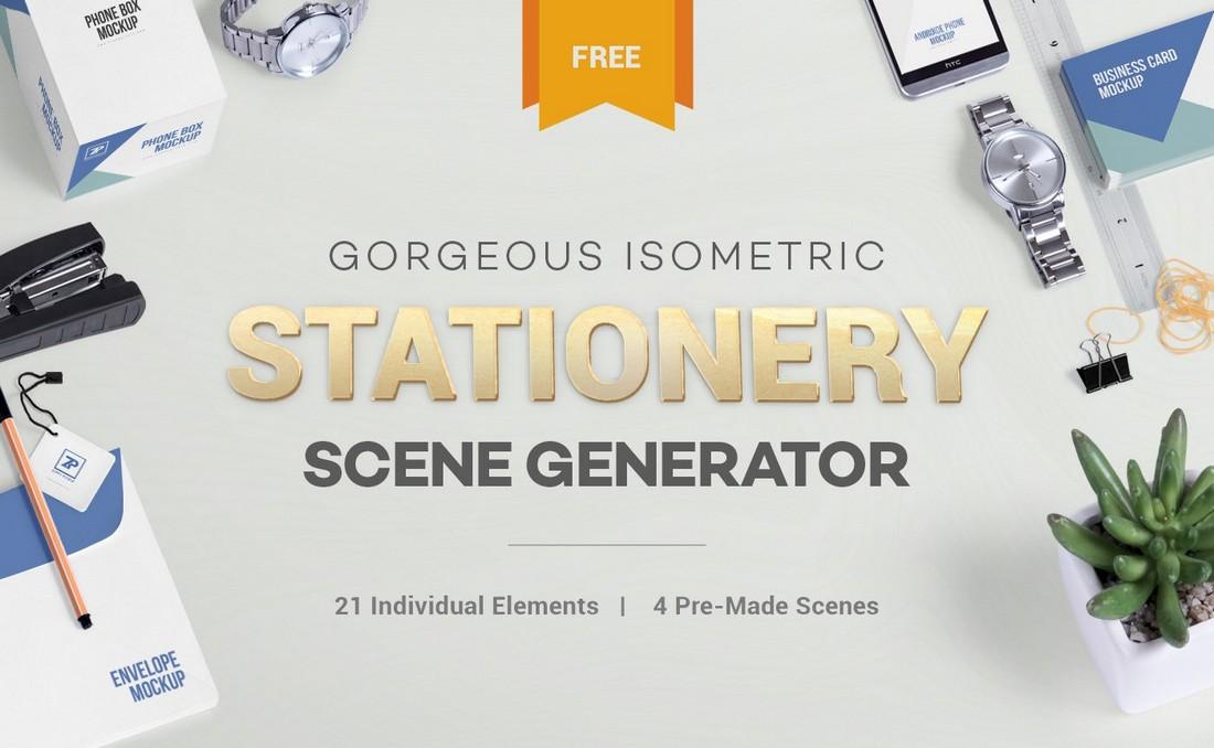 Free PSD Stationery Mockup Scene Generator