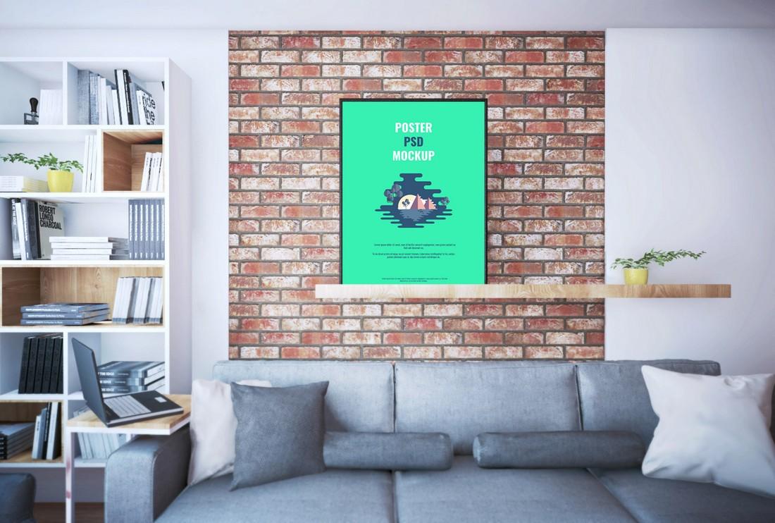 Free Poster On Shelf PSD Mockup