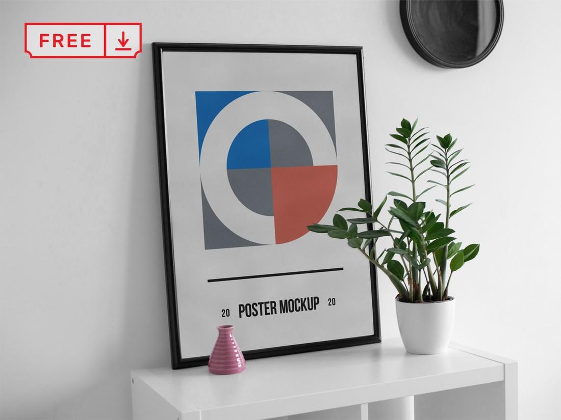 Free Poster on Desk Mockup