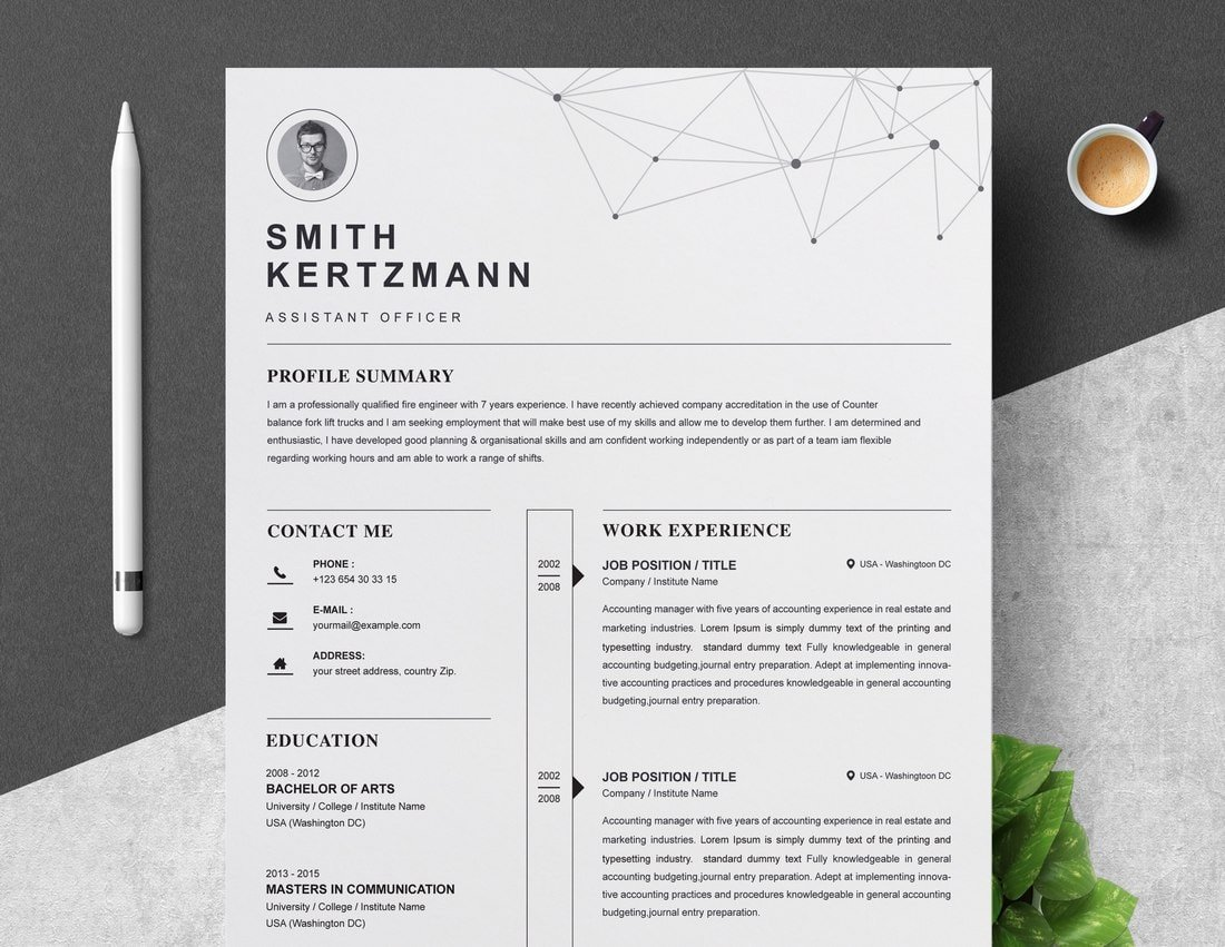 Free-Professional-Resume-Template-3 50+ Best CV & Resume Templates 2020 design tips