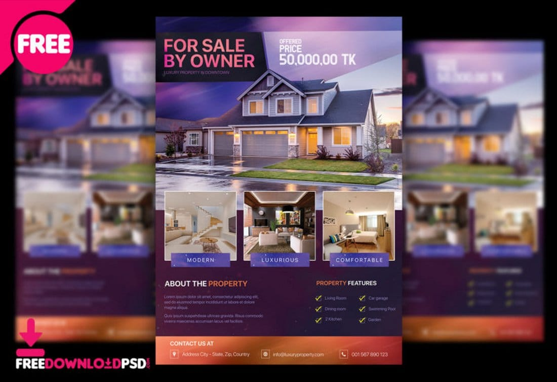Free Real Estate Property Flyer PSD Template
