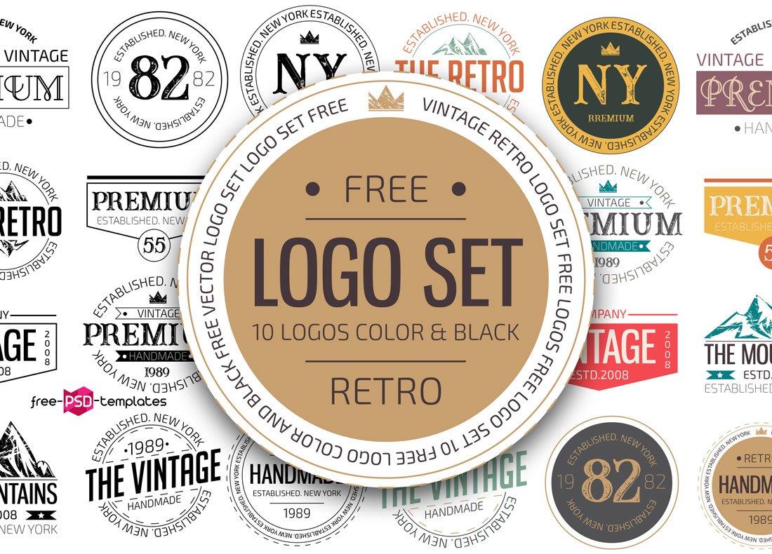 Free Retro Logo Templates PSD