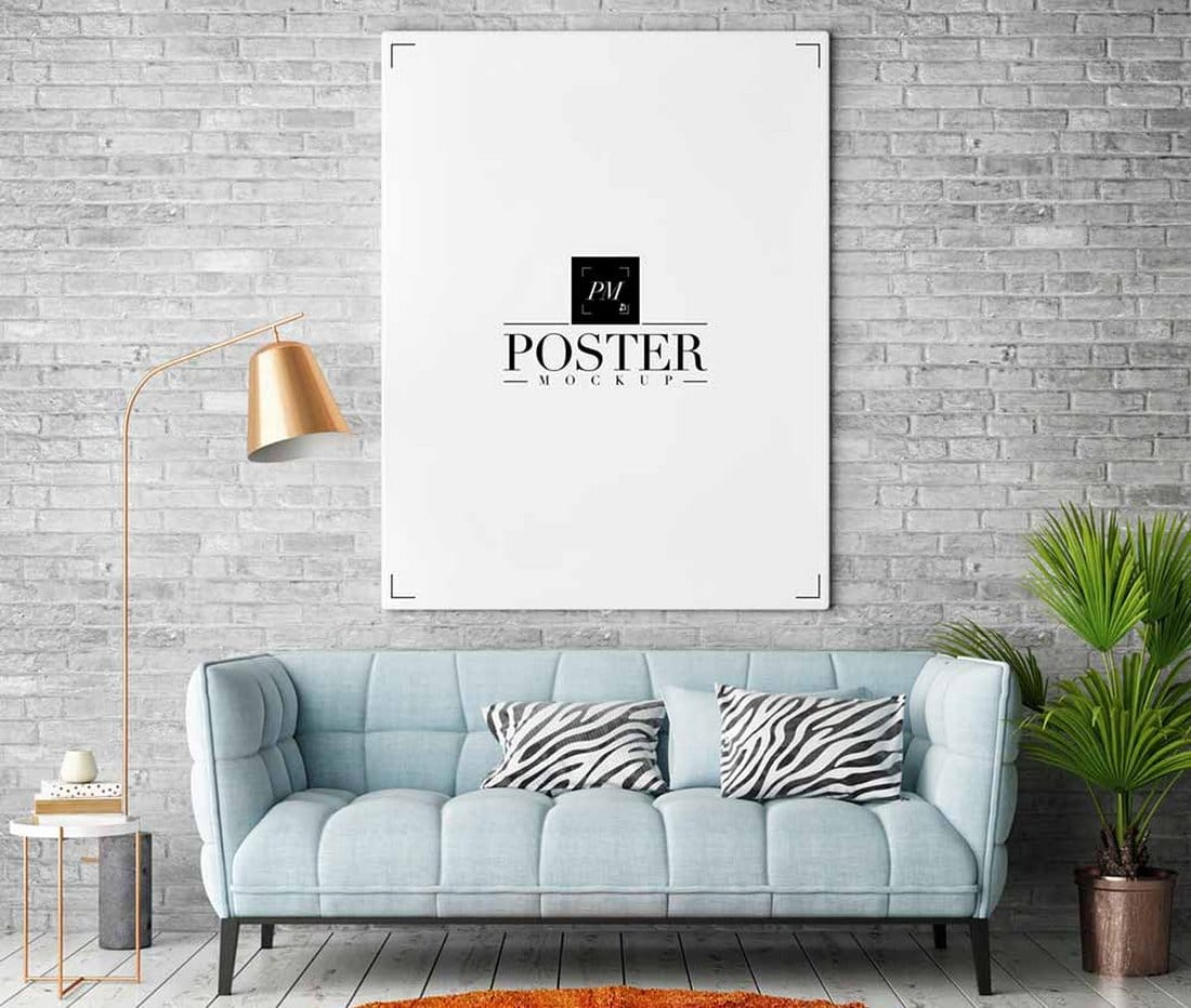 Free-Room-Interior-Frame-Poster-Mockup 30+ Best Poster Mockup Templates 2021 design tips
