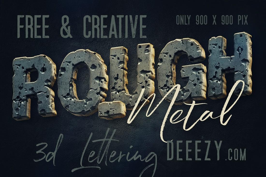 Free Rough Metal 3D Lettering Font