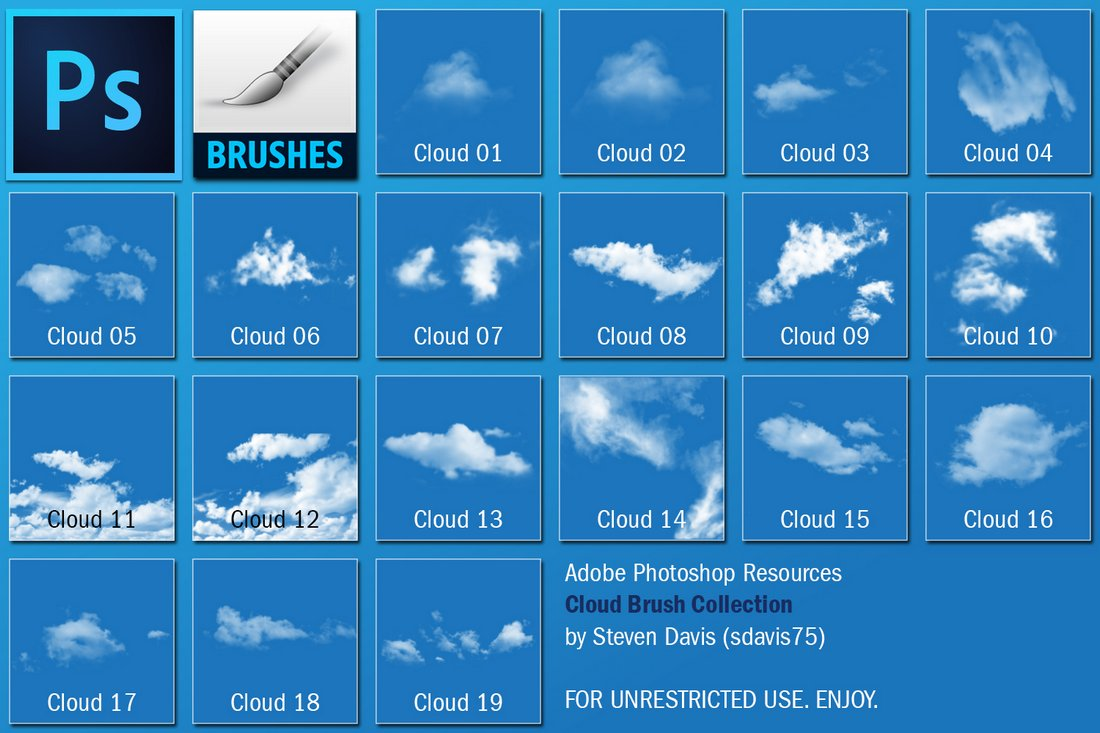 Free Simple Cloud Brushes for Photoshop