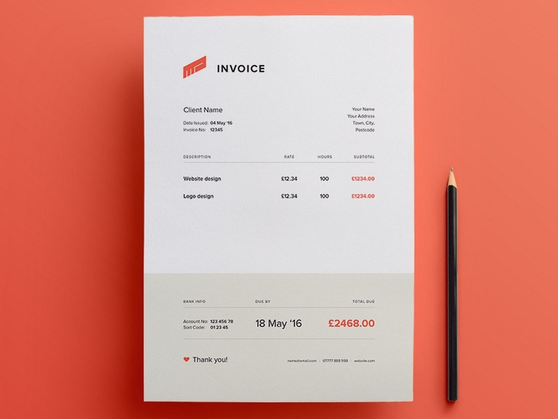 Free-Simple-Illustrator-Invoice-Template 20+ Best Invoice Templates for InDesign & Illustrator (Free + Premium) design tips