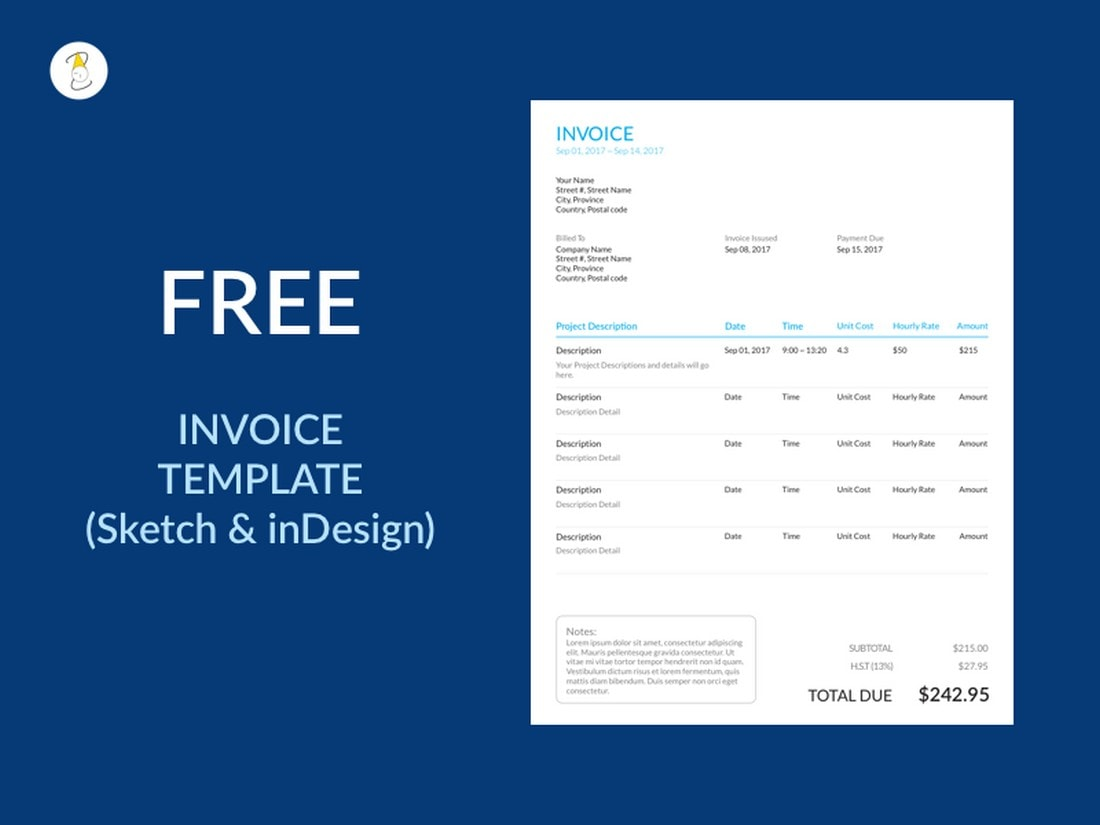 Free-Sketch-InDesign-Invoice-Template 20+ Best Invoice Templates for InDesign & Illustrator (Free + Premium) design tips  Inspiration