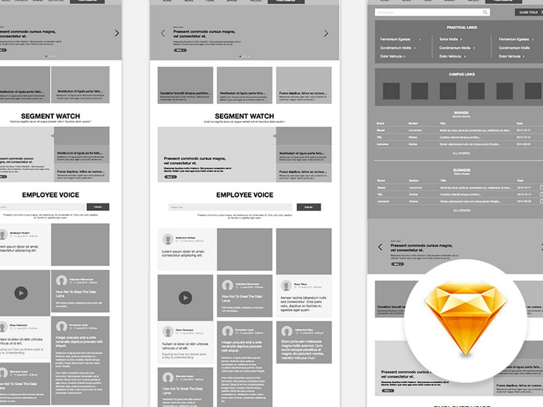 Free Sketch Website Wireframe Template
