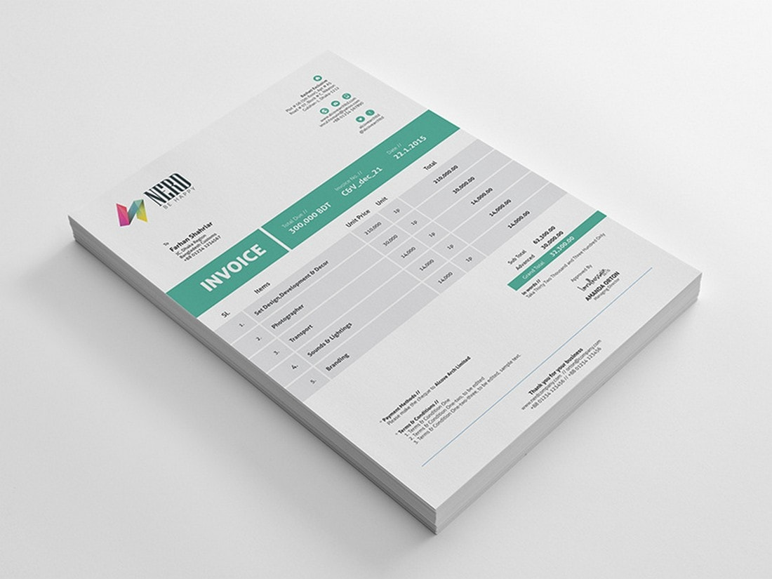 Free-Small-Business-Invoice-Template 20+ Best Invoice Templates for InDesign & Illustrator (Free + Premium) design tips  Inspiration