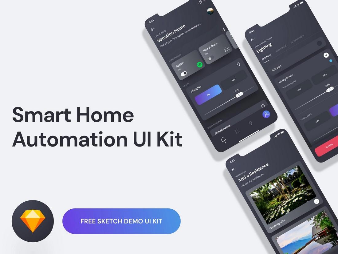 Free Smart Home App UI Kit for Sketch