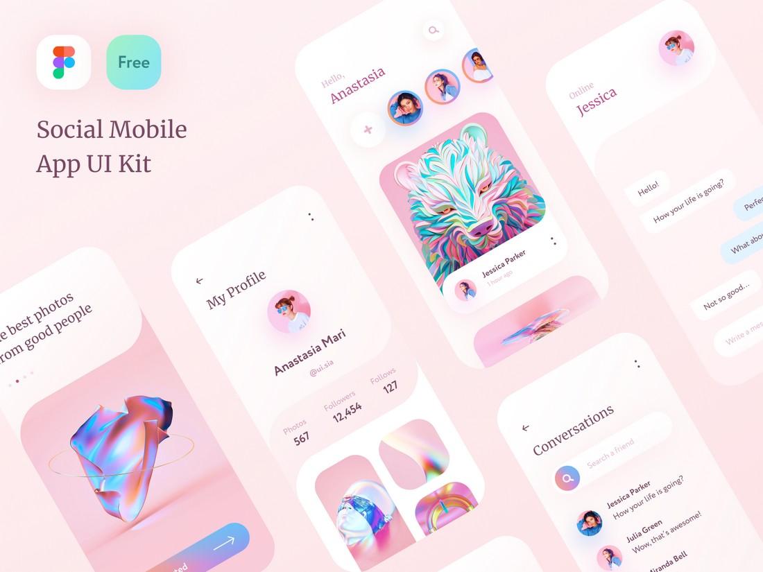 Free Social Mobile App UI Kit for Figma