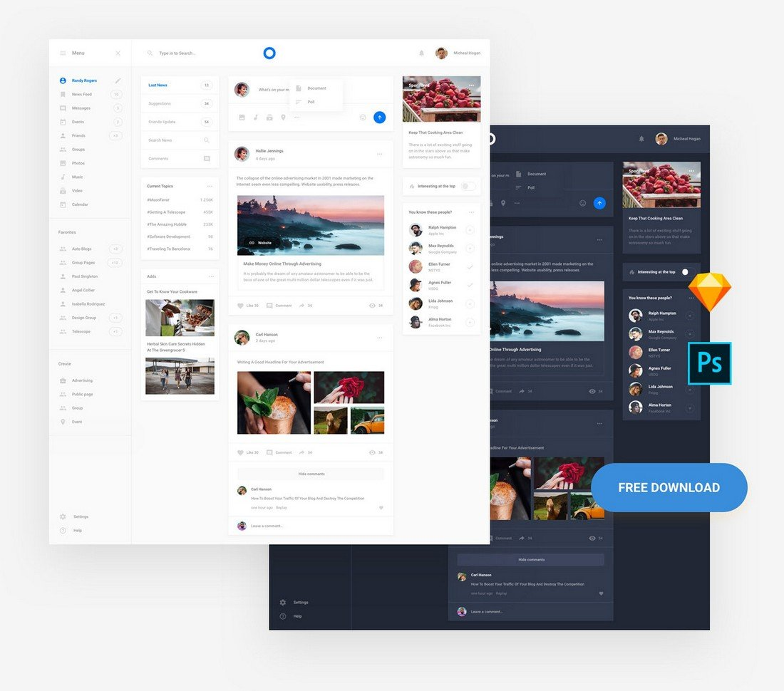 Free Social Network UI Sketch Template