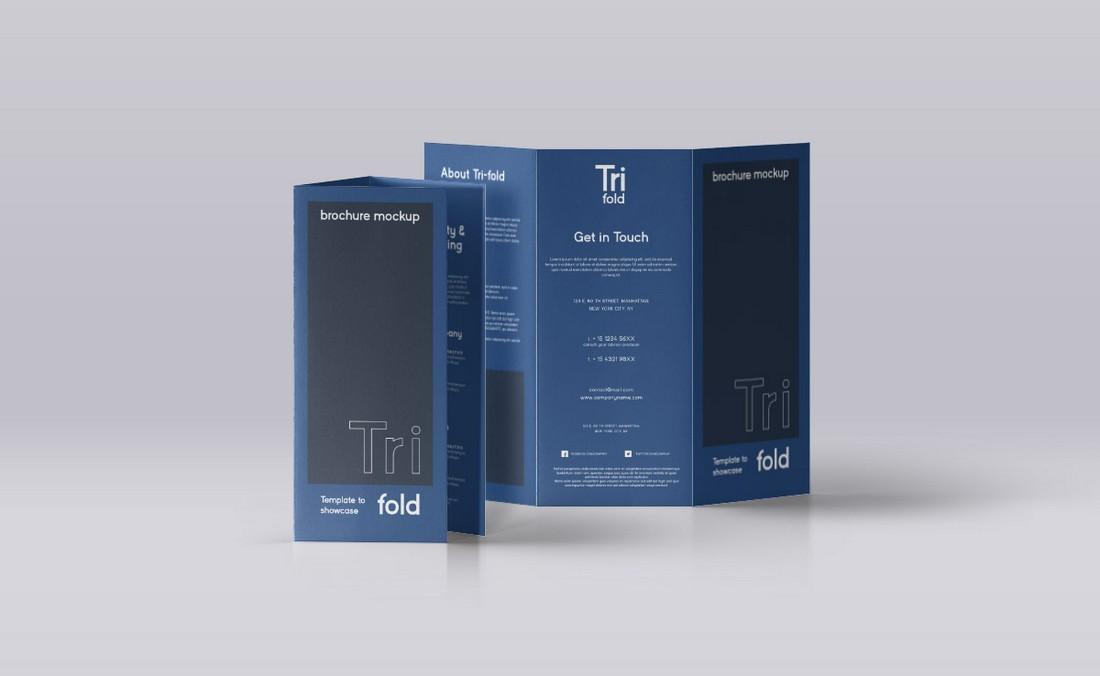 Free Standing Tri-Fold Brochure Mockup