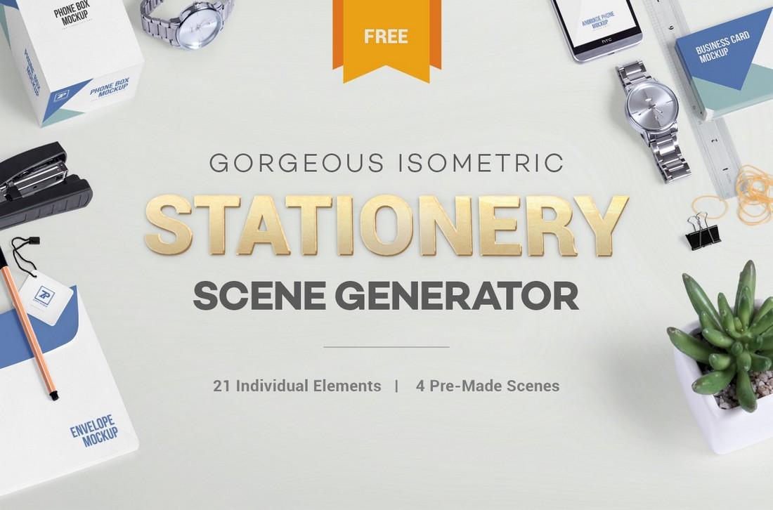 Free Stationery Mockup Scene Generator