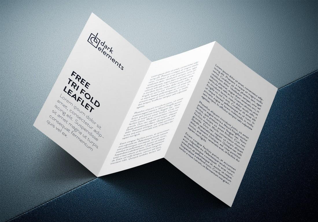 Free Stylish Tri-Fold Brochure Mockup