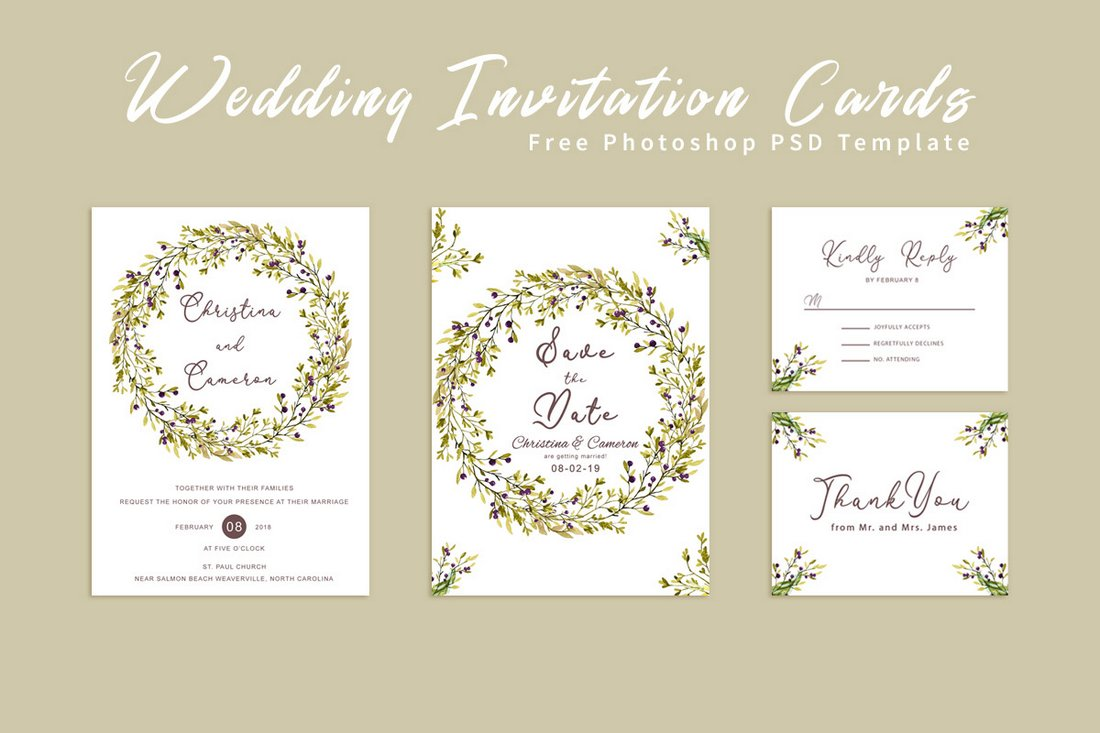 Free Stylish Wedding Invitation Cards