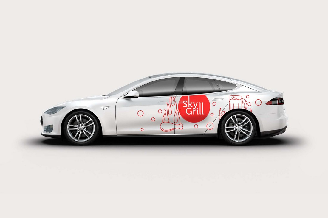 Free Tesla S Car Decal Mockup
