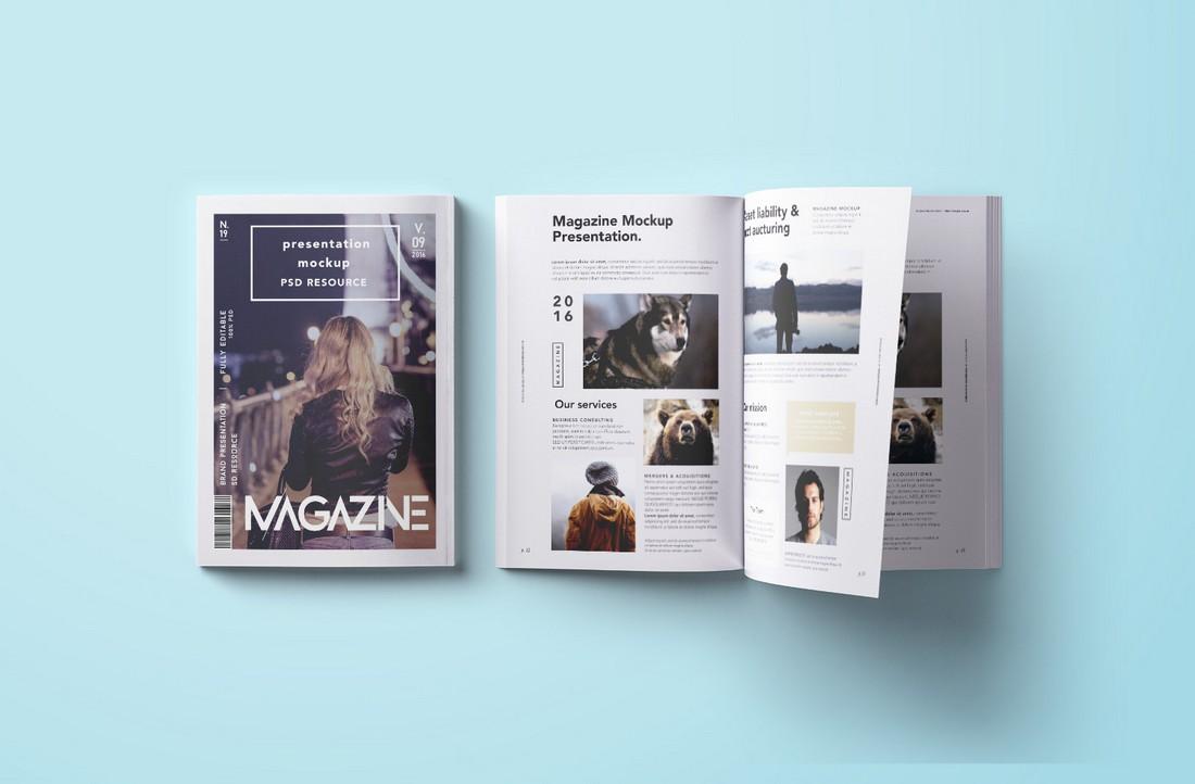 Free Top-Down Magazine Mockup PSD