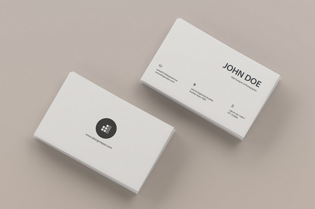 Free Top View Business Card Mockup