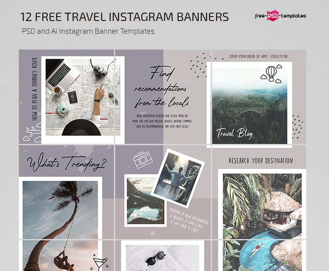 Free Travel Instagram Frame Puzzle Template