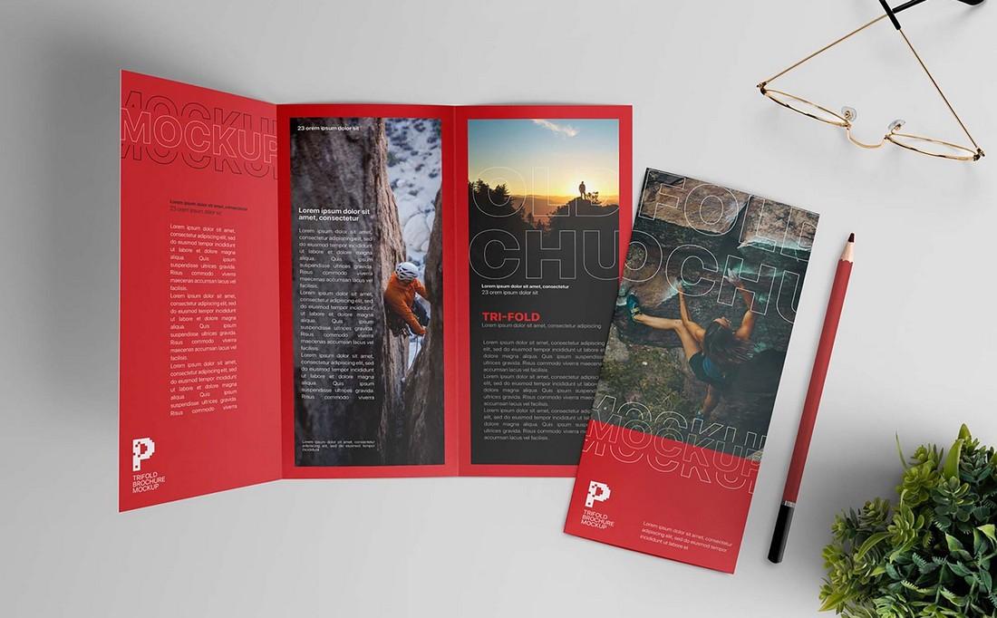 Free Trifold Brochure Mockup Scene (PSD)