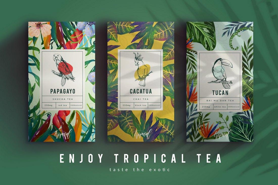 Free Tropical Tea Packaging Template