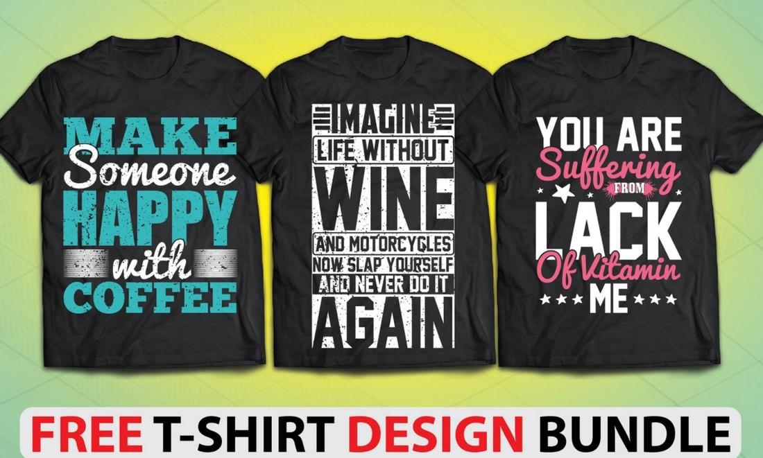 Free Typography T-Shirt Design Bundle