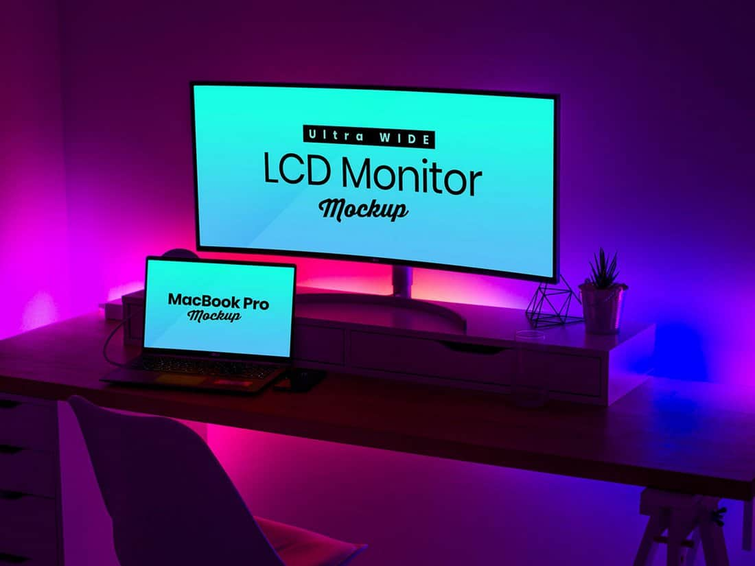 Free Ultra Wide Monitor & MacBook Pro Mockup PSD