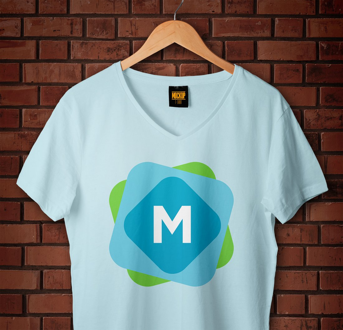 Free V-Neck T-Shirt & Hanger Mockup