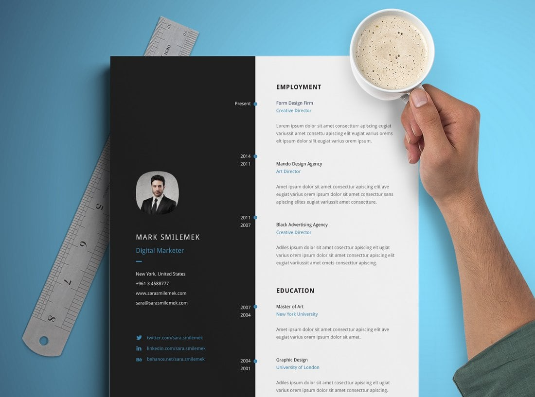 Free-Vertical-Resume-Template 50+ Best CV & Resume Templates 2020 design tips