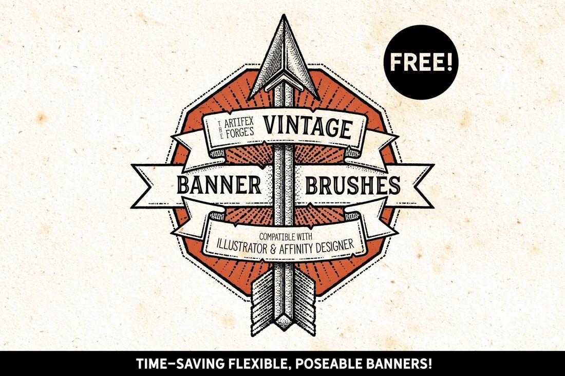 Free-Vintage-Banner-Brushes-for-Illustrator 25+ Best Free Adobe Illustrator Brushes 2021 design tips