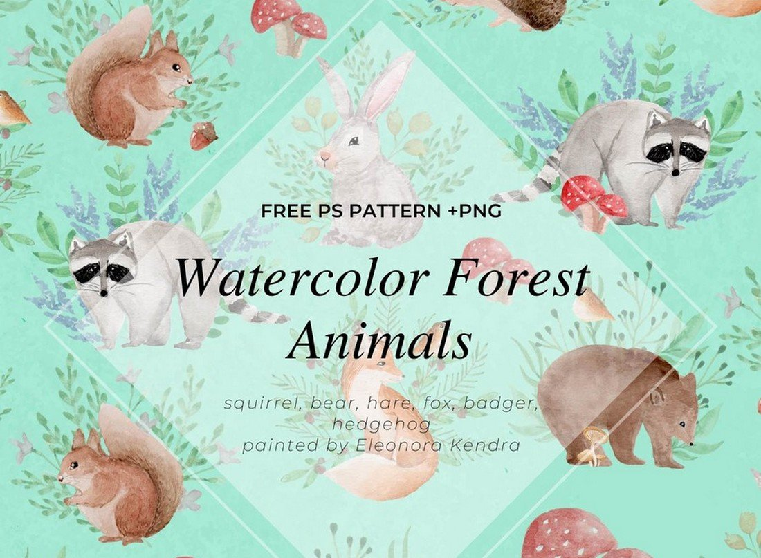 Free-Watercolor-Forest-Animals-Photoshop-Pattern 50+ Best Free Photoshop Patterns 2021 design tips