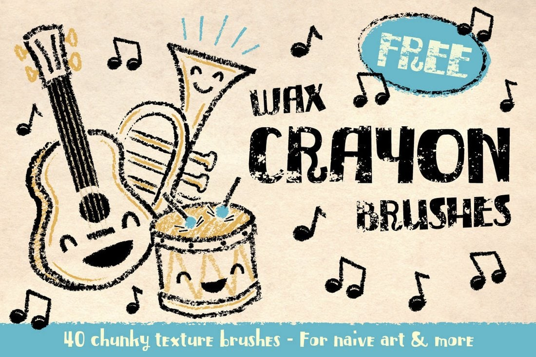 Free-Wax-Crayon-Texture-Illustrator-Brushes 25+ Best Free Adobe Illustrator Brushes 2021 design tips