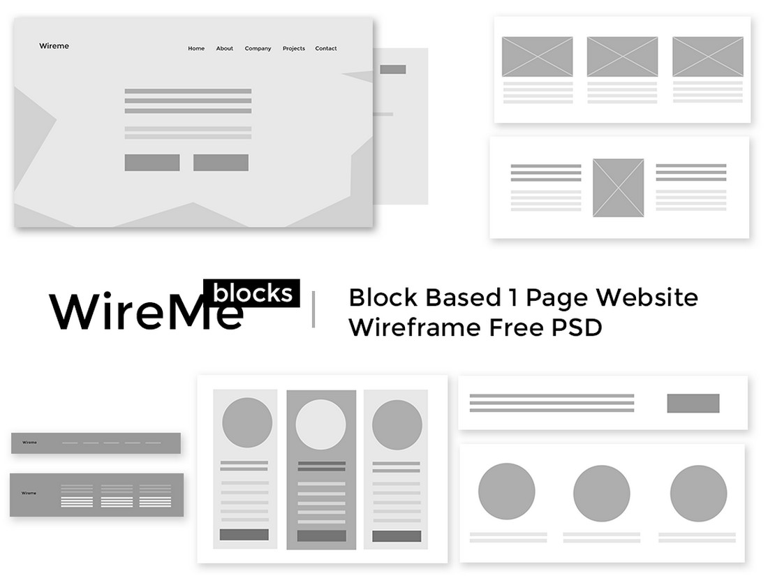 Free Website Wireframe PSD Template