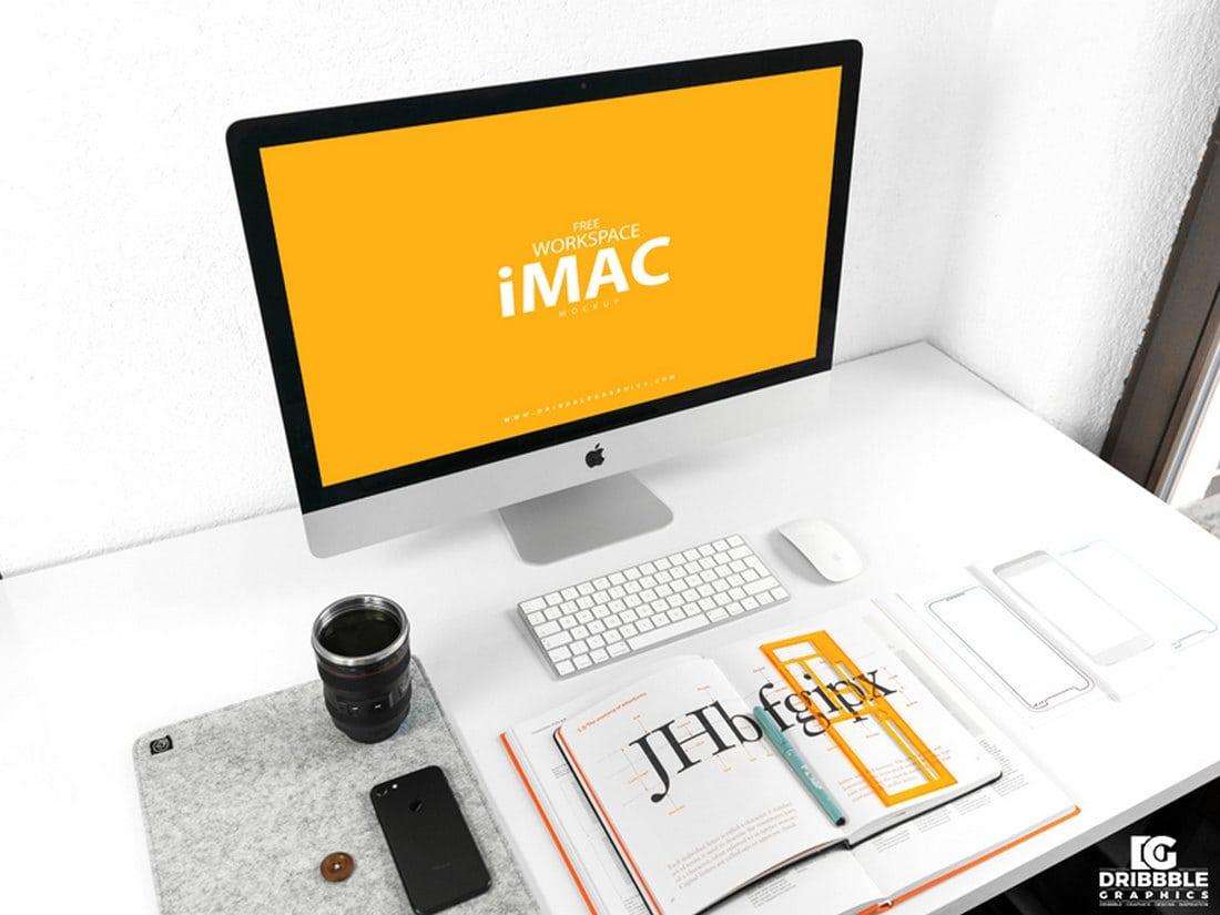 Free-Workspace-iMac-Mockup 40+ iMac Mockup PSDs, Photos & Vectors design tips