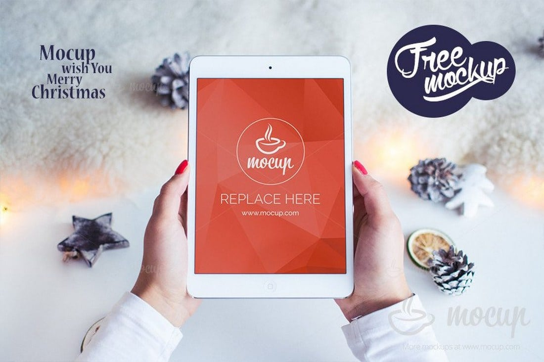Free iPad Mockup White Christmas