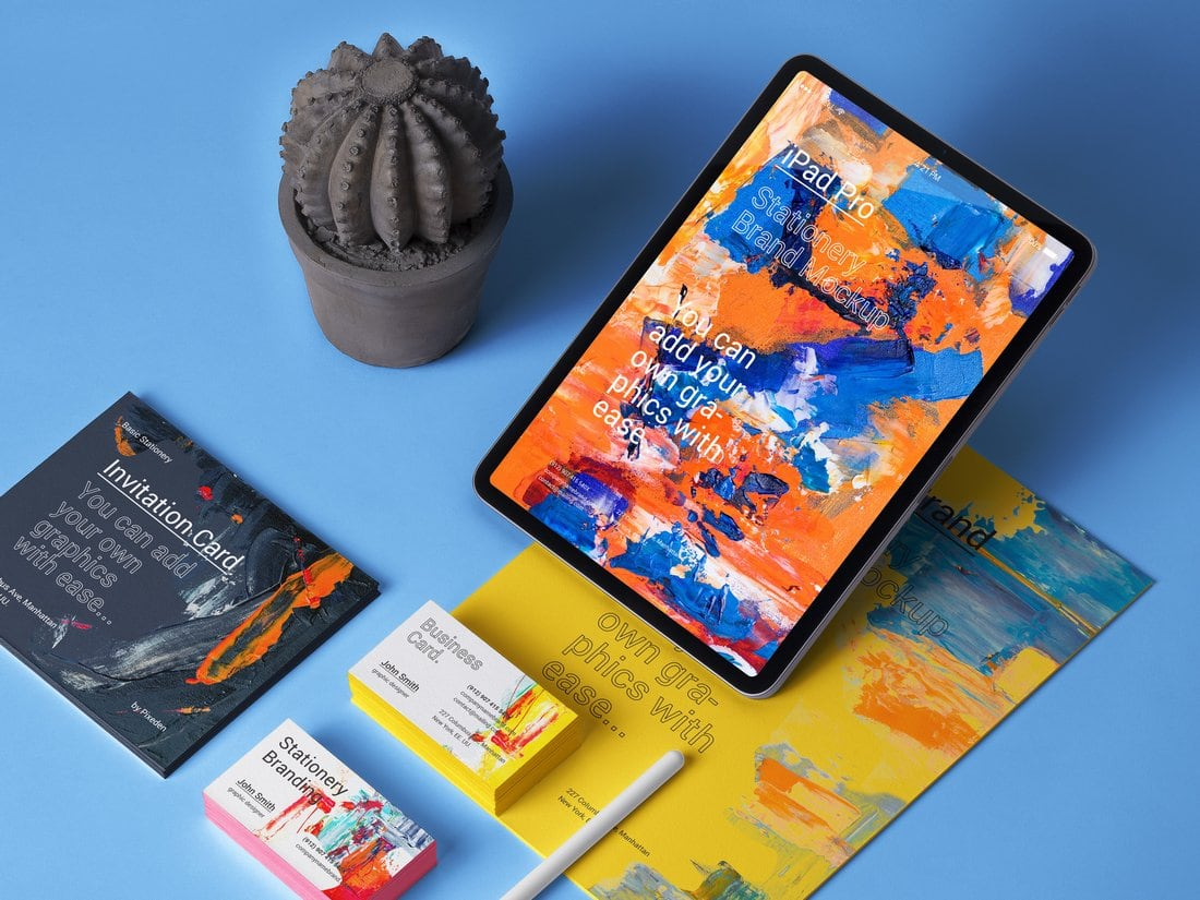 Free iPad Stationery Branding Mockup