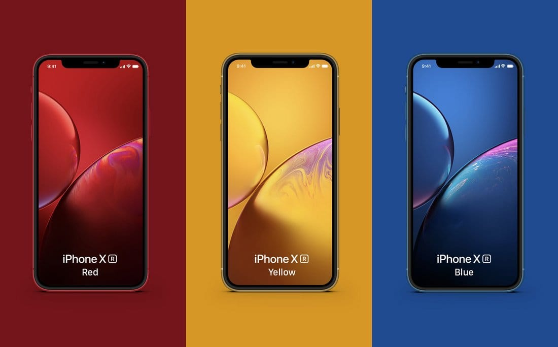 Free iPhone XR Colorful Mockups