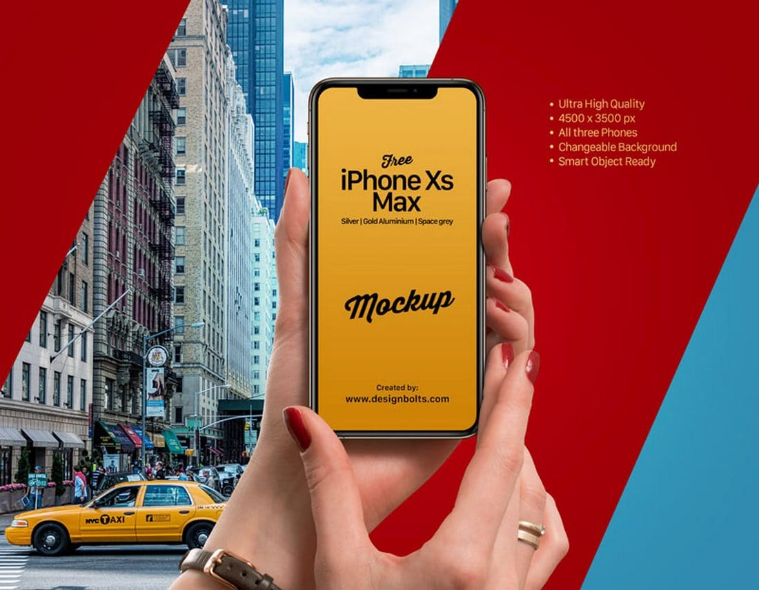 Free iPhone XS Max With Hands Mockup PSD