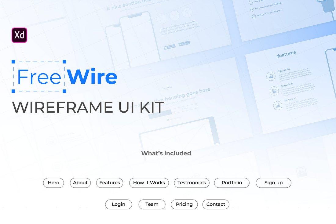 FreeWire - Free Wireframe Kit For Adobe XD