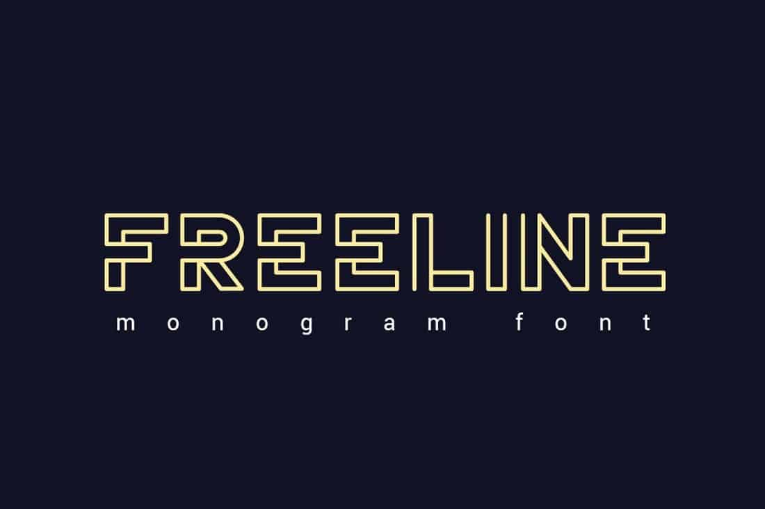 Freeline - Monogram Outline Font