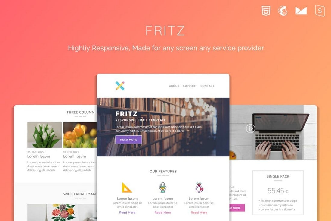 Fritz-Responsive-Multipurpose-Email-Template 20+ Best MailChimp Email Newsletter Templates (Free + Premium) 2021 design tips