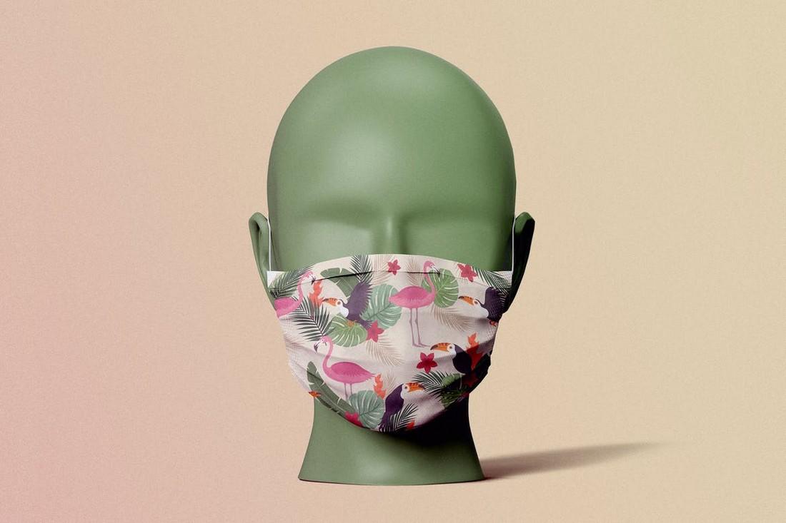 Front-Facing Face Mask Mockup
