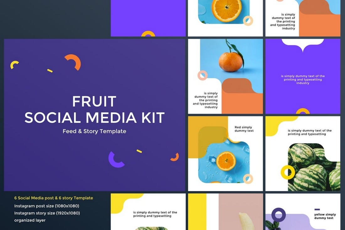 Fruit-Food-Social-Media-Kit 40+ Best Social Media Kit Templates & Graphics design tips  Inspiration|facebook|social media|twitter