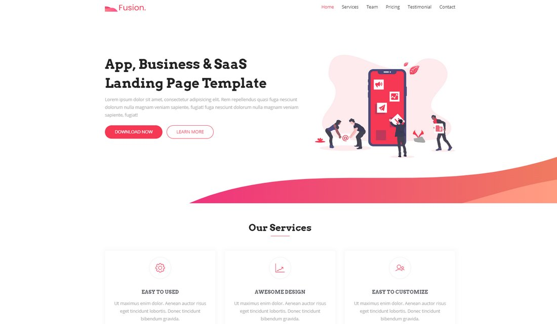 Fusion-Free-Modern-App-Landing-Page-Template 50+ Best App Landing Page Templates 2021 design tips