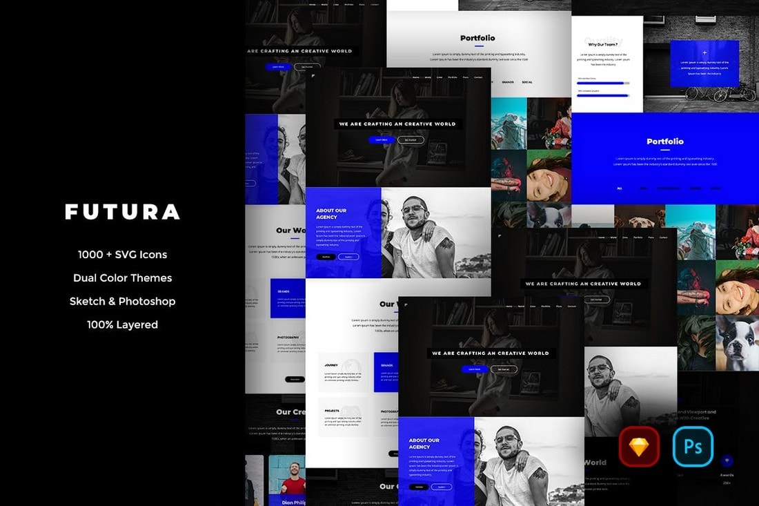 Futura - Creative Website UI Kit (Sketch & PSD)