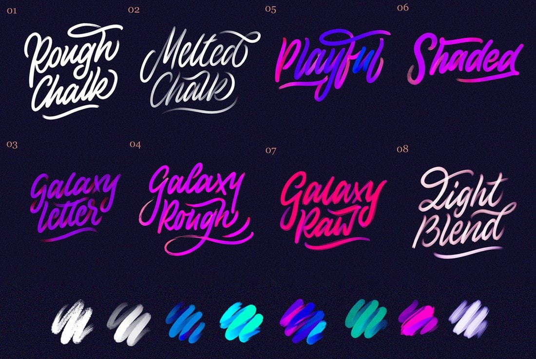 Galaxy-Free-Chalk-Lettering-Procreate-Brushes 30+ Best Procreate Brushes 2020 (Free & Pro) design tips