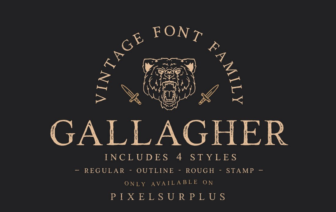 Fuentes para letreros: Gallagher - Fuente Vintage Sign Gratis